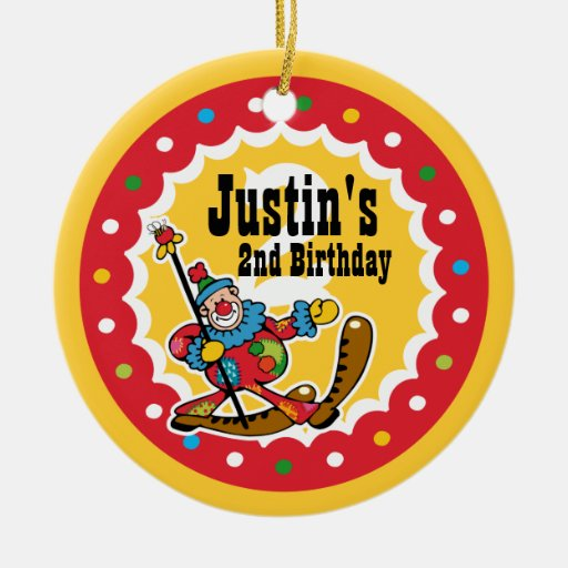 Del payaso 2do ornamento del cumpleaños alrededor adorno navideño redondo de cerámica
