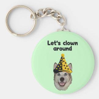 Del payaso perro alrededor llavero redondo tipo pin