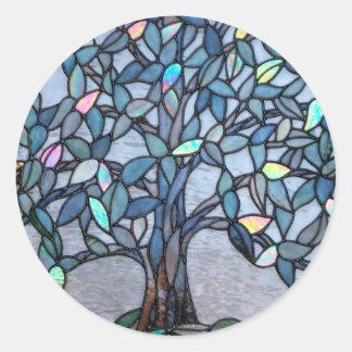 """Del """"pegatina panel del árbol"""" del vitral pegatina redonda"""