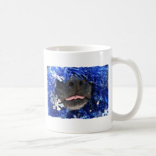 Del perro del navidad de la opinión marco simple d tazas de café