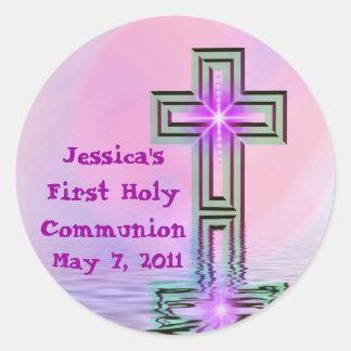 Del personalizado pegatinas de la comunión santa pegatinas redondas