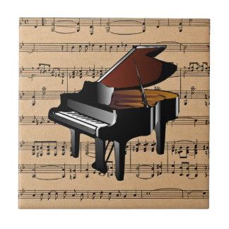 ~ del piano con el fondo de la partitura teja
