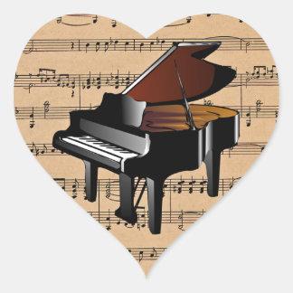 ~ del piano con el fondo de la partitura pegatina en forma de corazón