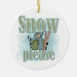 Del pingüino del esquí de la nieve camisetas y ornaments para arbol de navidad