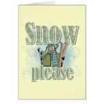 Del pingüino del esquí de la nieve camisetas y reg tarjeton