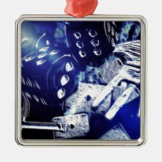 Del póker de la noche arte hacia fuera adorno navideño cuadrado de metal
