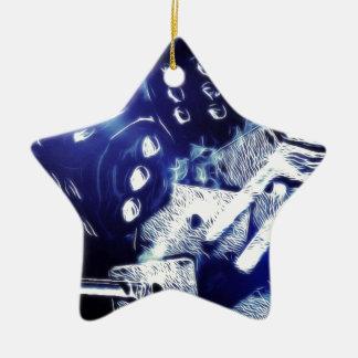 Del póker de la noche arte hacia fuera adorno navideño de cerámica en forma de estrella