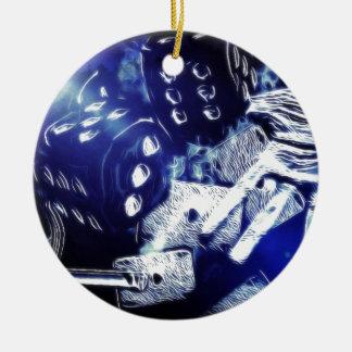 Del póker de la noche arte hacia fuera adorno navideño redondo de cerámica