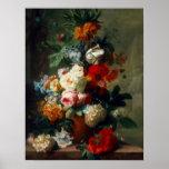 Del poster del vintage todavía del arte flores de