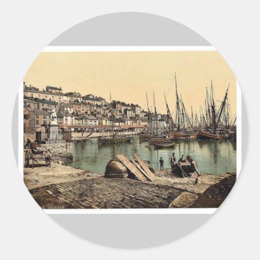 Del puerto, Brixham, vintage Photochr de Pegatina Redonda