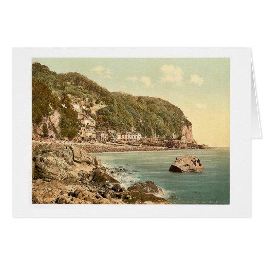 Del puerto, Clovelly, vintage Photoch de Inglaterr Tarjeta De Felicitación