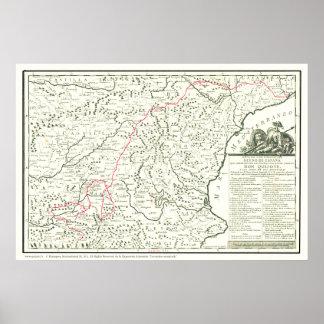 Del Quijote de Mapa-Mapa de la Ruta de la ruta del Póster