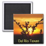 Del Rio Texas souvenirs desert brush sunset 2 Inch Square Magnet