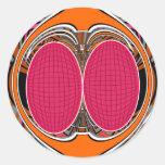 Del rosa diseño anaranjado superfly pegatinas redondas