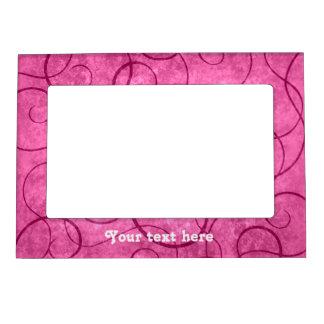 Del rosa diseño femenino swirly marcos magneticos de fotos