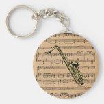 ~ del saxofón con el fondo de la partitura llaveros