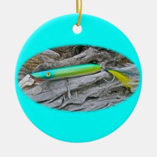 """Del """"señuelo de la pesca del agua salada dragón de adorno navideño redondo de cerámica"""