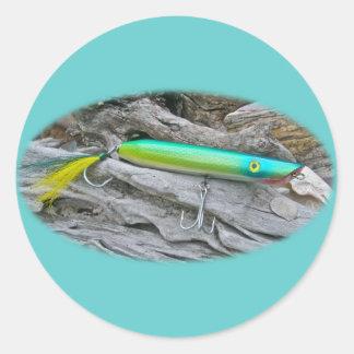 "Del ""señuelo de la pesca del agua salada dragón de pegatina redonda"