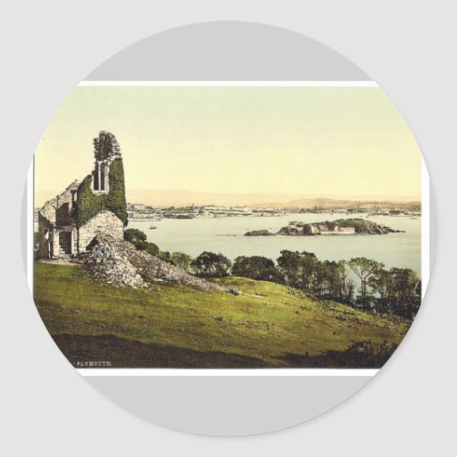 Del soporte Edgcumbe, Plymouth, obra clásica Pho Etiquetas Redondas