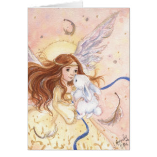 """Del """"tarjeta de hadas ángel y del conejito"""" tarjeta de felicitación"""