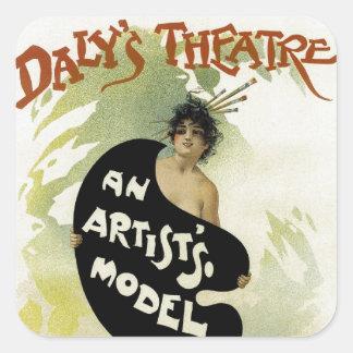 ~ del teatro del Daly el modelo de un artista Pegatina Cuadrada