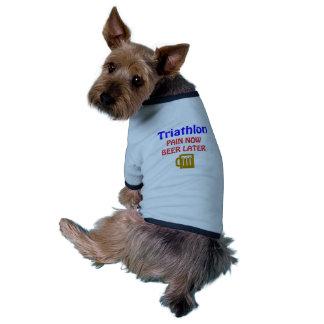 Del Triathlon del dolor cerveza ahora más adelante Camiseta Con Mangas Para Perro