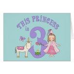 Del unicornio 3ro cumpleaños invitación de la prin tarjeta