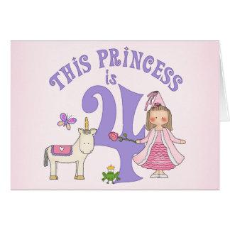 Del unicornio 4ta cumpleaños invitación de la prin tarjeta pequeña
