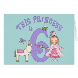 Del unicornio 6ta cumpleaños invitación de la prin tarjeta pequeña