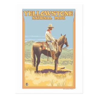 Del vaquero nacional de Yellowstone a caballo - Postal