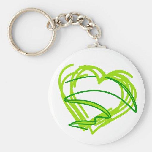 Del verde corazón 3 scribbly llavero redondo tipo pin
