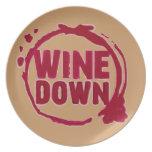 "Del ""vino impresión de la mancha de la copa de vin plato"