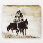 Del vintage de Cheyenne de los guerreros cojín de  Tapete De Ratones