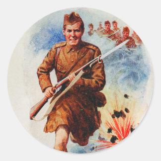 Del vintage de Escocia soldado Reino Unido de la Pegatina Redonda