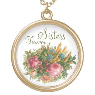 Del vintage de las flores salvajes de las hermanas colgante redondo