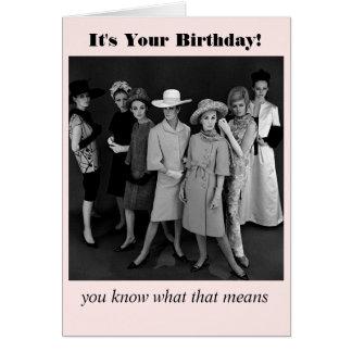 Del vintage del estilo de los chicas de la noche tarjeta de felicitación