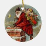 Del vintage del navidad de Papá Noel chimenea abaj Ornamento De Navidad