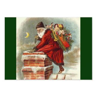 """Del vintage del navidad de Papá Noel chimenea Invitación 5"""" X 7"""""""