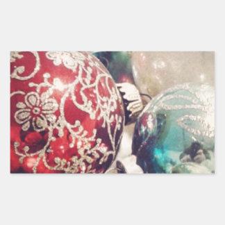 Del vintage del navidad todavía de los ornamentos pegatina rectangular