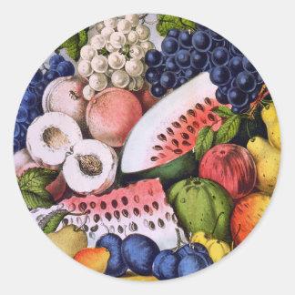 Del vintage todavía de la fruta vida pegatina redonda