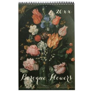Del vintage todavía del Barroco flores 2016 de la Calendarios
