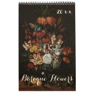 Del vintage todavía del Barroco flores 2016 de la Calendarios De Pared