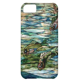 Del vitral de Pescado-Tiffany-Desnudo iPhone 5C Funda Para iPhone 5C