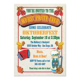"""Del Wurst del fiesta invitaciones de Oktoberfest Invitación 5"""" X 7"""""""
