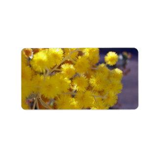 Del zarzo cierre amarillo de oro para arriba etiqueta de dirección