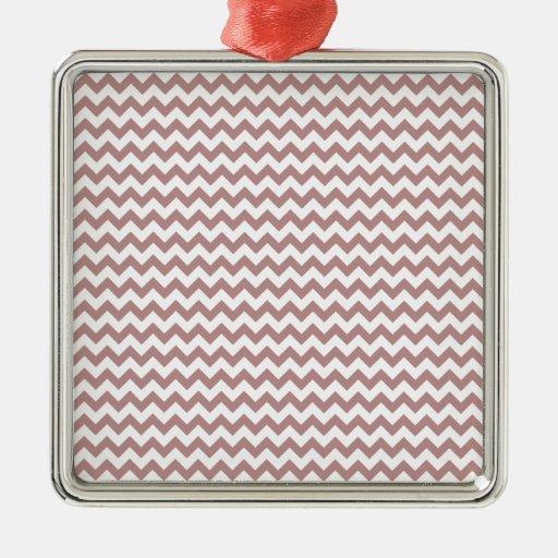 Del zigzag Brown blanco y atractivo de par en par Adorno Navideño Cuadrado De Metal