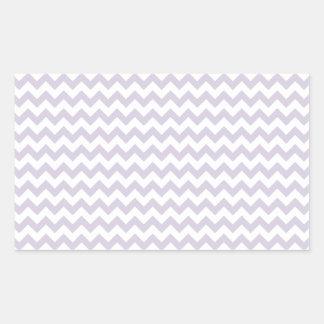 Del zigzag lavanda blanca y lánguida de par en par pegatina rectangular