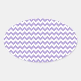 Del zigzag púrpura en colores pastel blanca y lige pegatinas ovales