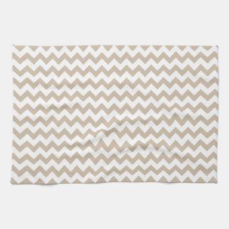 Del zigzag vainilla blanca y oscura de par en par  toalla de cocina
