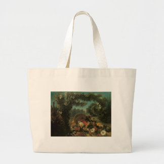 Delacroix Basket Of Flowers In A Park Large Tote Bag